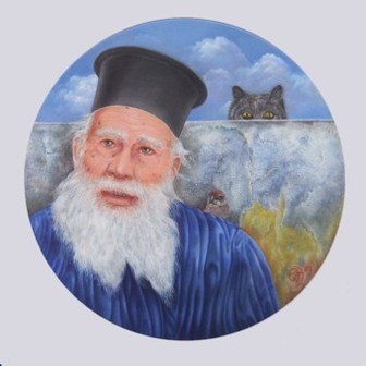Magisch realistisch schilderij van man met witte baard en kat; Magic realistic painting of man with white beard and a cat